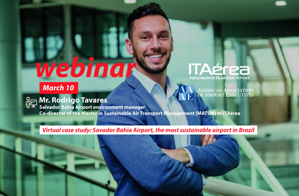 WEBINAR 10 marzo Rodrigo Tavares 1024x671 - ITAérea imparte conferencia virtual sobre gestión aeroportuaria sostenible para socios de la American Association of Airport Executives (AAAE)